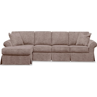 Sawyer 2 Piece Slipcover Sectional with Right-Facing Sofa and Left-Facing Chaise - Samantha Camel