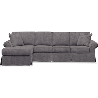 Sawyer 2 Piece Slipcover Sectional with Right-Facing Sofa and Left-Facing Chaise - Samantha Silver