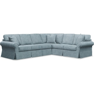 Sawyer 2 Piece Slipcover Sectional with Left-Facing Sofa - Samantha Teal