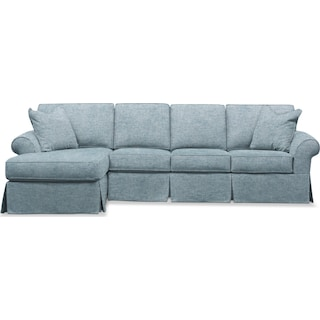 Sawyer 2 Piece Slipcover Sectional with Right-Facing Sofa and Left-Facing Chaise - Samantha Teal