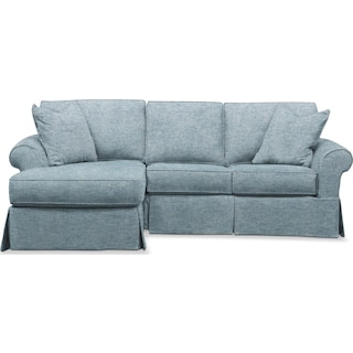 Sawyer 2 Piece Slipcover Sectional with Right-Facing Loveseat and Left-Facing Chaise - Samantha Teal