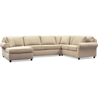 Ashton 3-Piece Sectional with Left-Facing Chaise - Brown