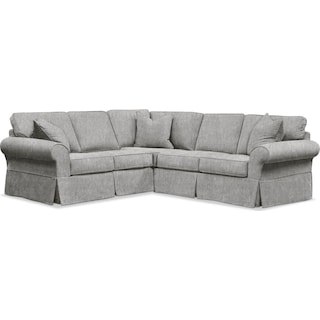 Sawyer 2 Piece Slipcover Sectional with Left-Facing Loveseat - Kelly Gray