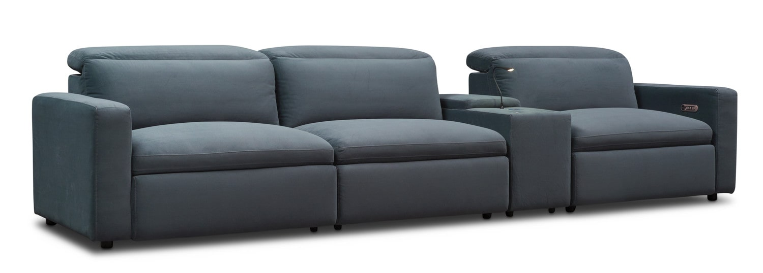 Living Room Furniture - Happy 4-Piece Dual Power Reclining Sofa with Console