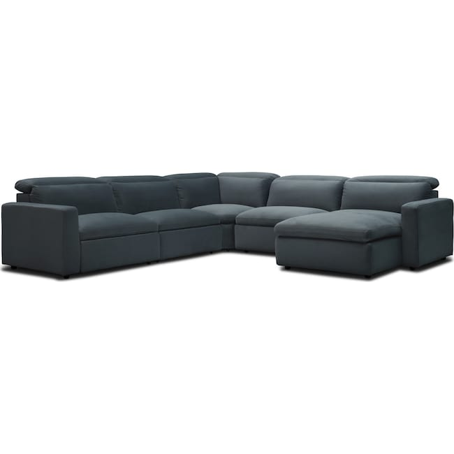 Living Room Furniture - Happy 5-Piece Dual Power Reclining Sectional with Chaise