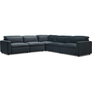 Happy 5-Piece Dual-Power Reclining Sectional with 3 Reclining Seats - Blue