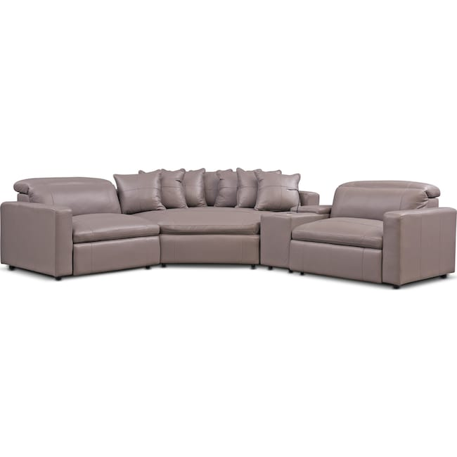 Living Room Furniture - Happy 4-Piece Dual Power Reclining Sectional with Cuddler