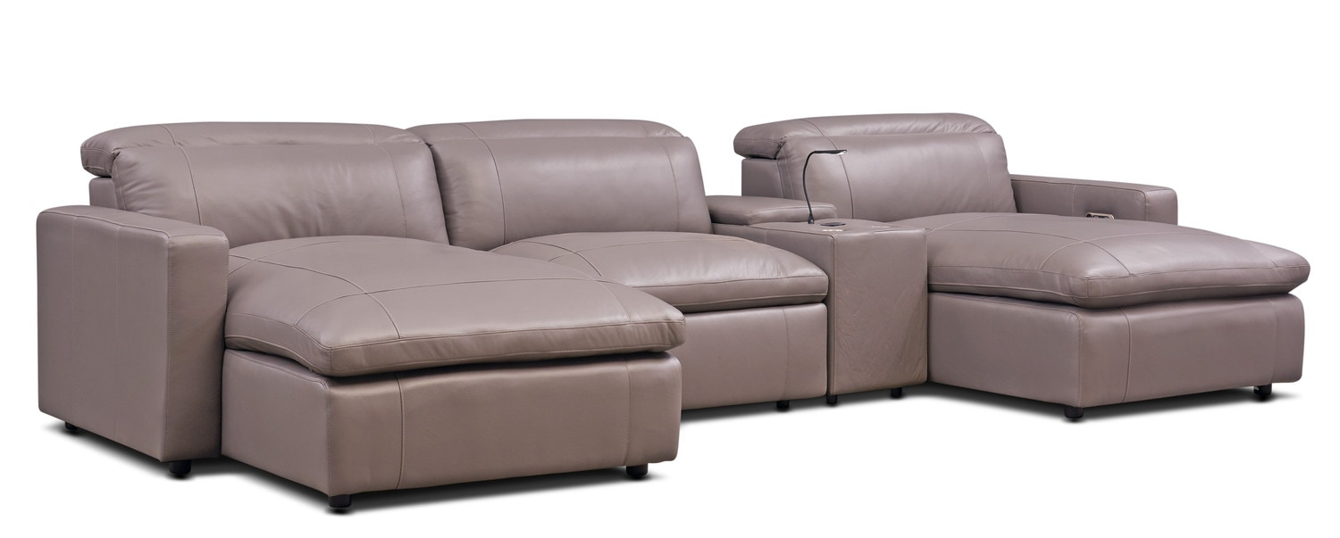 Happy 4 Piece Power Reclining Sectional With Console And