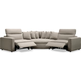 Happy 3-Piece Dual-Power Reclining Sectional with 2 Reclining Seats and Cuddler - Shitake