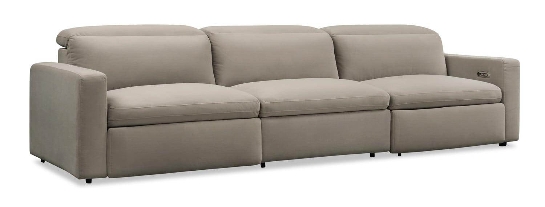 Living Room Furniture - Happy 3-Piece Dual-Power Reclining Sofa - Shitake