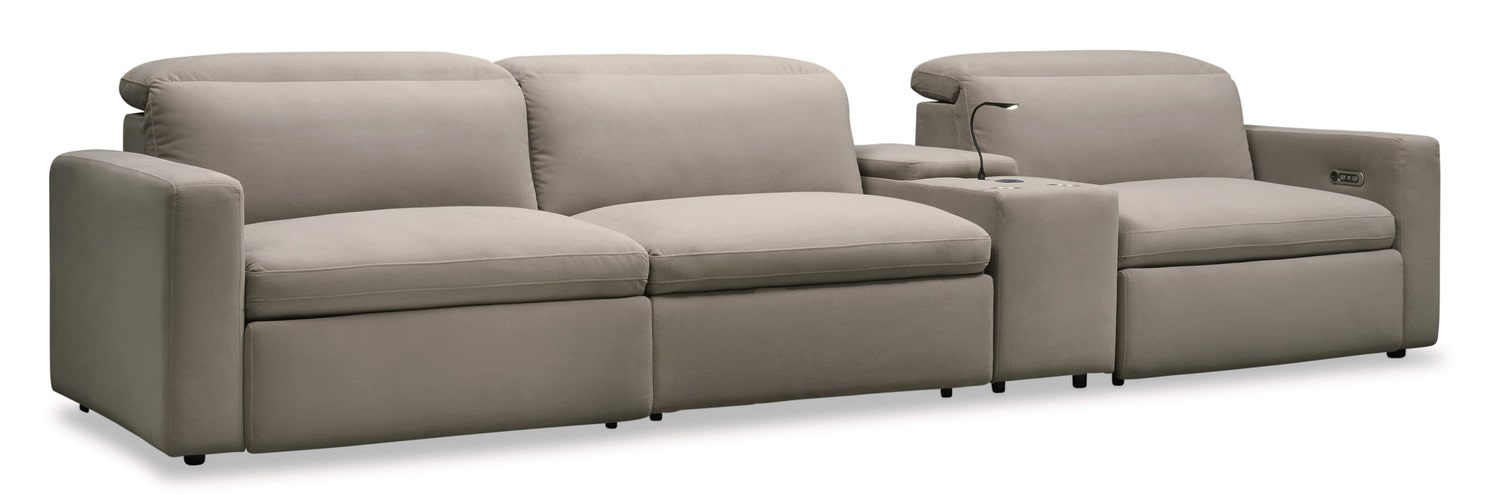 Living Room Furniture - Happy 4-Piece Dual-Power Reclining Sofa with Console - Shitake