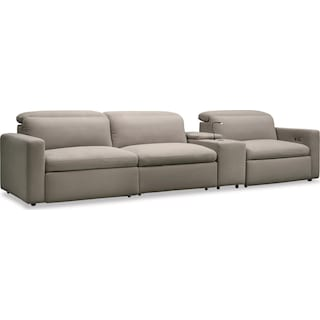 Happy 4-Piece Dual Power Reclining Sofa with Console - Shitake