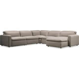 Happy 5-Piece Dual Power Reclining Sectional with Right-Facing Chaise and 3 Reclining Seats - Shitak