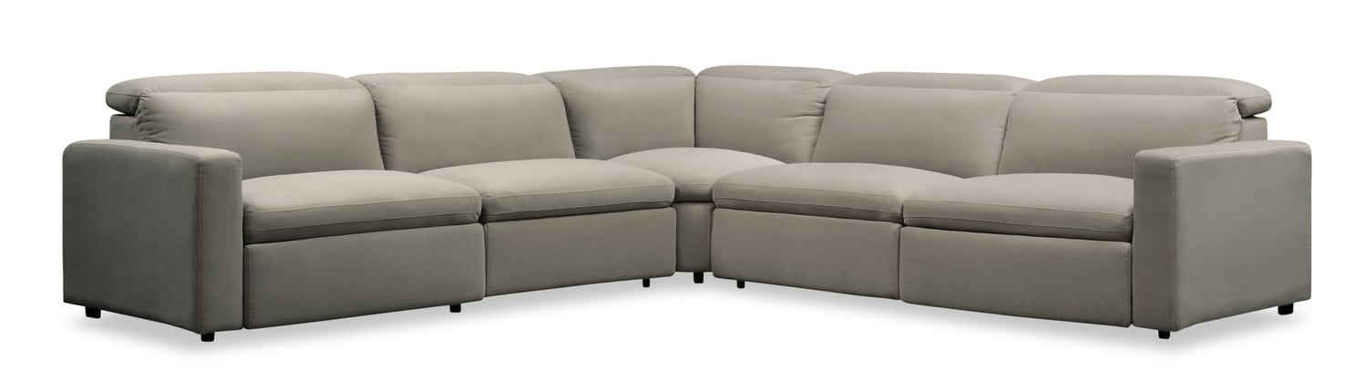 Living Room Furniture - Happy 5-Piece Dual-Power Reclining Sectional with 3 Reclining Seats - Shitake
