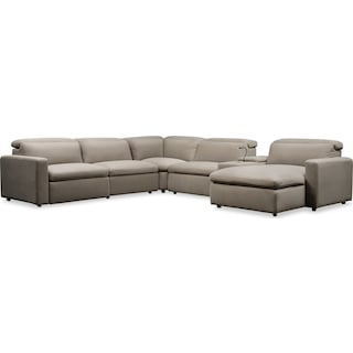 Happy 6-Piece Dual Power Reclining Sectional with Right-Facing Chaise and 2 Reclining Seats- Shitake