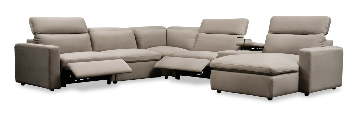 Happy 6 Piece Dual Power Reclining Sectional With Right