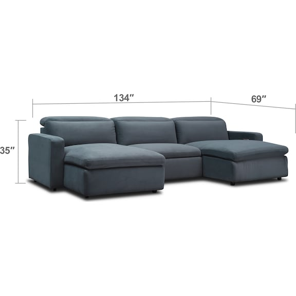 Living Room Furniture - Happy 3-Piece Power Reclining Sectional with Dual Chaises