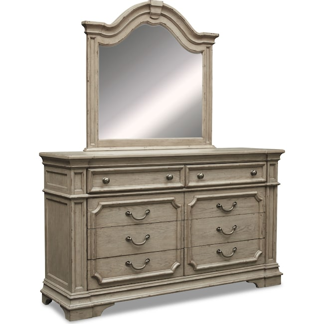 Bedroom Furniture - Chatelet Dresser and Mirror - Antique Taupe