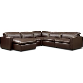 Happy 5-Piece Dual-Power Reclining Sectional with Left-Facing Chaise and 3 Reclining Seats - Brown