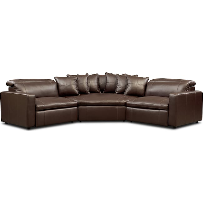 Living Room Furniture - Happy 3-Piece Dual Power Reclining Sectional with Cuddler