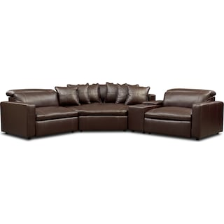 Happy 4-Piece Dual-Power Reclining Sectional with 2 Reclining Seats and Cuddler - Brown