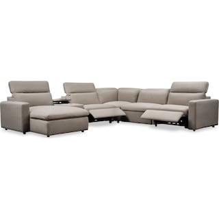 Happy 6-Piece Dual-Power Reclining Sectional with Left-Facing Chaise and 2 Reclining Seats - Shitake