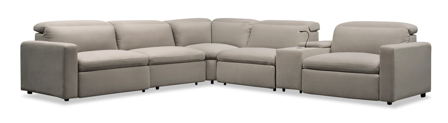 Living Room Furniture - Happy 6-Piece Dual-Power Reclining Sectional with 3 Reclining Seats - Shitake