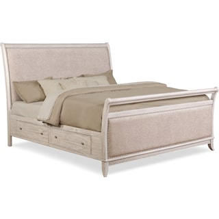 Hazel Queen Upholstered Storage Bed - Water White