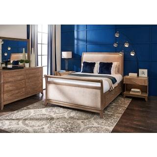 Hazel 6-Piece Upholstered Bedroom Set with 1-Drawer Nightstand, Dresser and Mirror