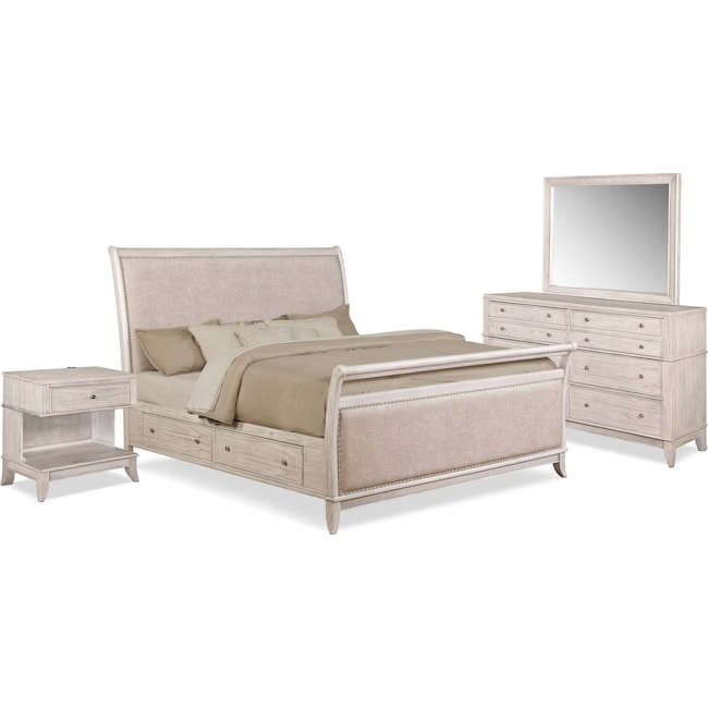 Bedroom Furniture - Hazel 6-Piece Upholstered Bedroom Set with 1-Drawer Nightstand, Dresser and Mirror