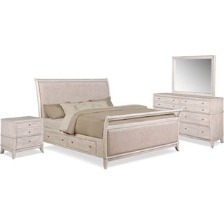 Hazel 6-Piece Upholstered Bedroom Set with 2-Drawer Nightstand, Dresser and Mirror