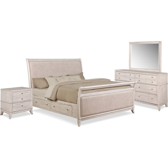 Bedroom Furniture - Hazel 6-Piece Upholstered Bedroom Set with 2-Drawer Nightstand, Dresser and Mirror
