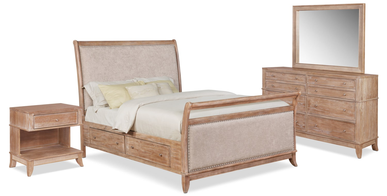 Bedroom Furniture - Hazel 6-Piece Upholstered Bedroom Set with 1-Drawer Nightstand, Dresser and Mirror
