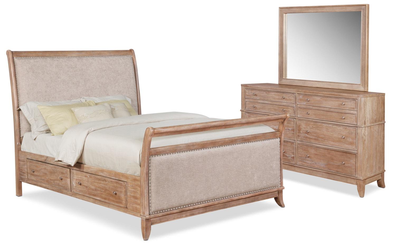 Bedroom Furniture - Hazel 5-Piece Upholstered Bedroom Set with Dresser and Mirror