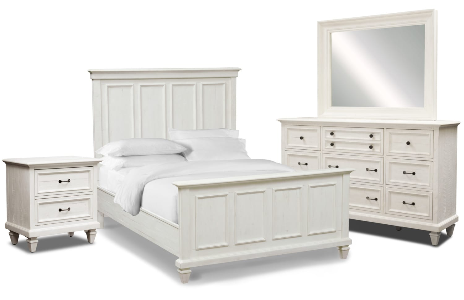 Harrison 6-Piece Bedroom Set with Nightstand, Dresser and Mirror