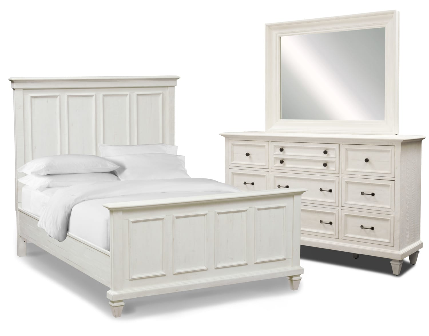 Bedroom Furniture - Harrison 5-Piece Bedroom Set with Dresser and Mirror