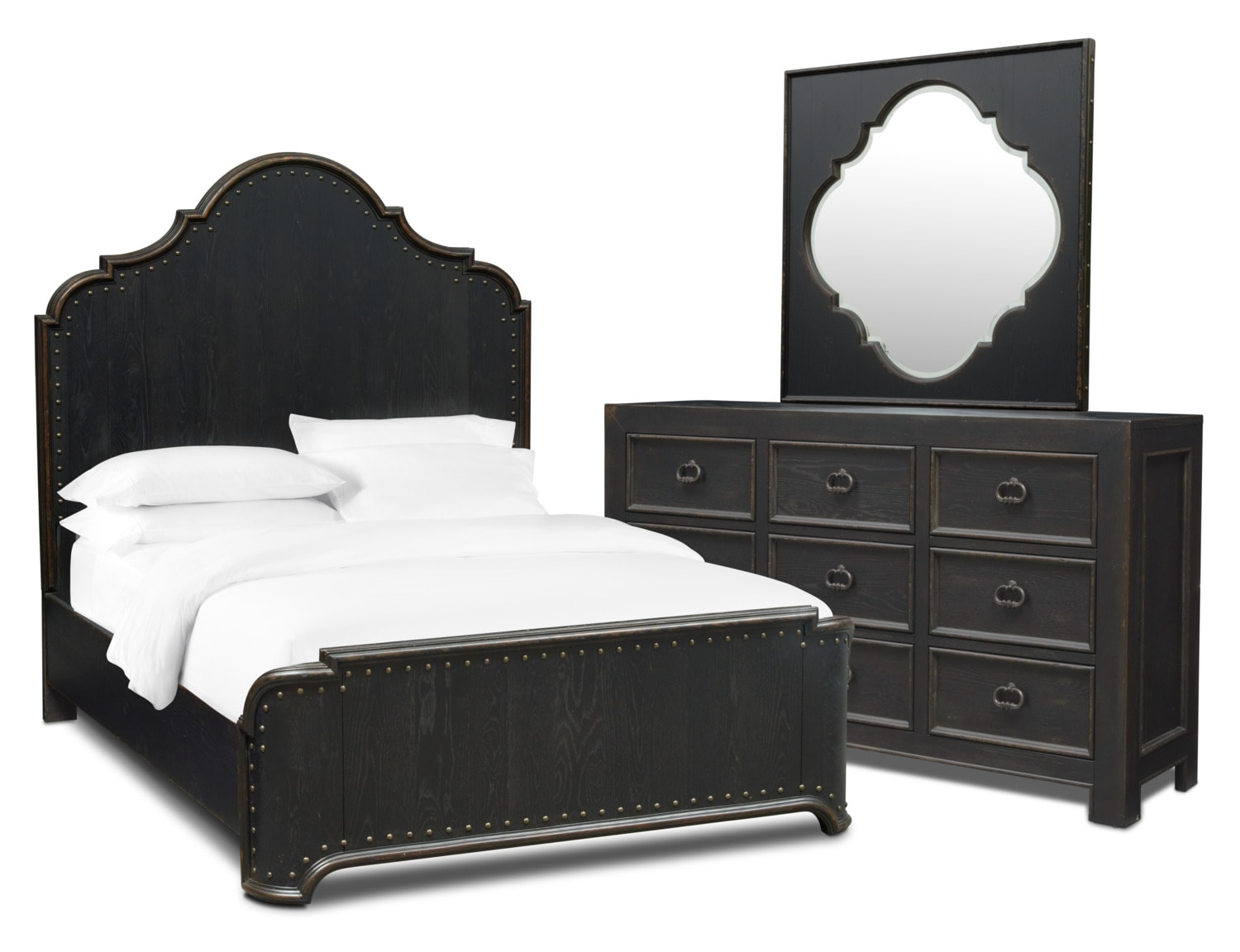 Bedroom Furniture - Lennon 5-Piece Bedroom Set with Dresser and Mirror