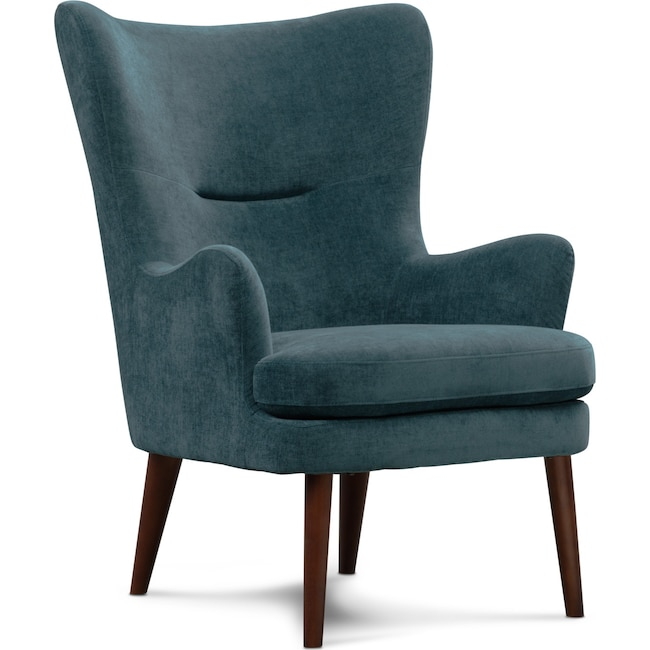 Living Room Furniture - Perkins Accent Chair - Teal