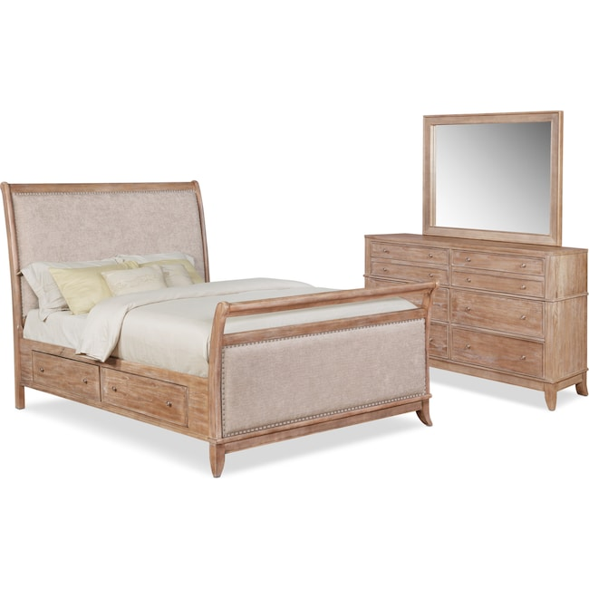 Bedroom Furniture - Hazel 5-Piece Upholstered Bedroom Set with Dresser and Mirror