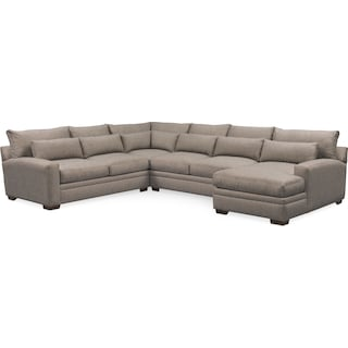 Winston Cumulus 4-Piece Sectional with Right-Facing Chaise - Gray