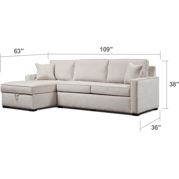 Living Room Furniture - Mayson 2-Piece Full Sleeper Sectional