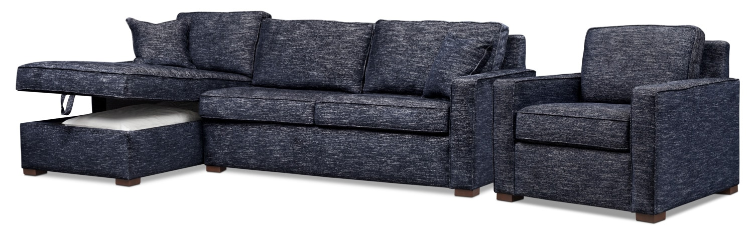 Living Room Furniture - Mayson 2-Piece Full Sleeper Sectional and Chair Set