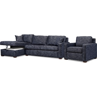 Mayson 2-Piece Left-Facing Sectional and Chair - Navy
