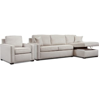 Mayson 2-Piece Right-Facing Sectional and Chair - Beige