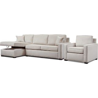 Mayson 2-Piece Left-Facing Sectional and Chair - Beige