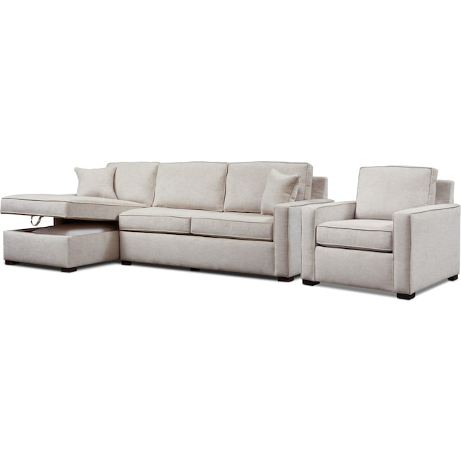Living Room Furniture - Mayson 2-Piece Full Sleeper Sectional and Chair
