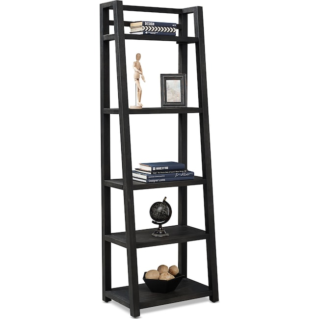 Home Office Furniture - Carlton Leaning Bookcase - Black