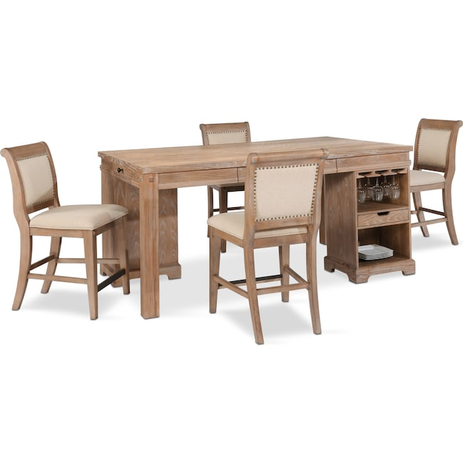 Dining Room Furniture - August Counter-Height Island and 4 Upholstered Stools Set - Latte