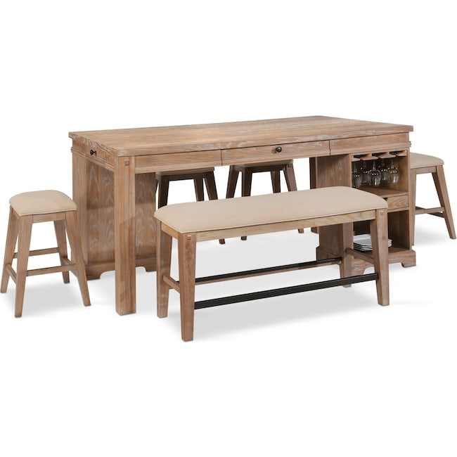 Dining Room Furniture - August Counter-Height Island, 4 Backless Stools, and Bench Set - Latte
