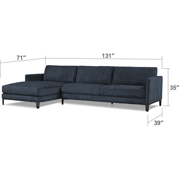 Living Room Furniture - Myles 2-Piece Left-Facing Sectional - Navy